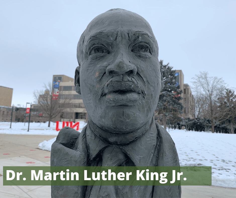 A bust of Martin Luther King Jr. on the NIU campus.