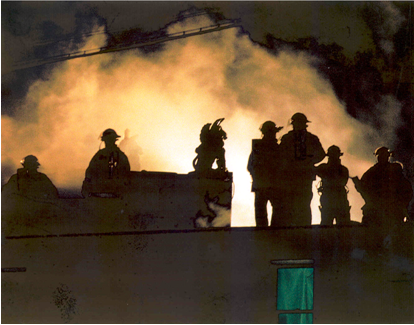 Structure fire at night