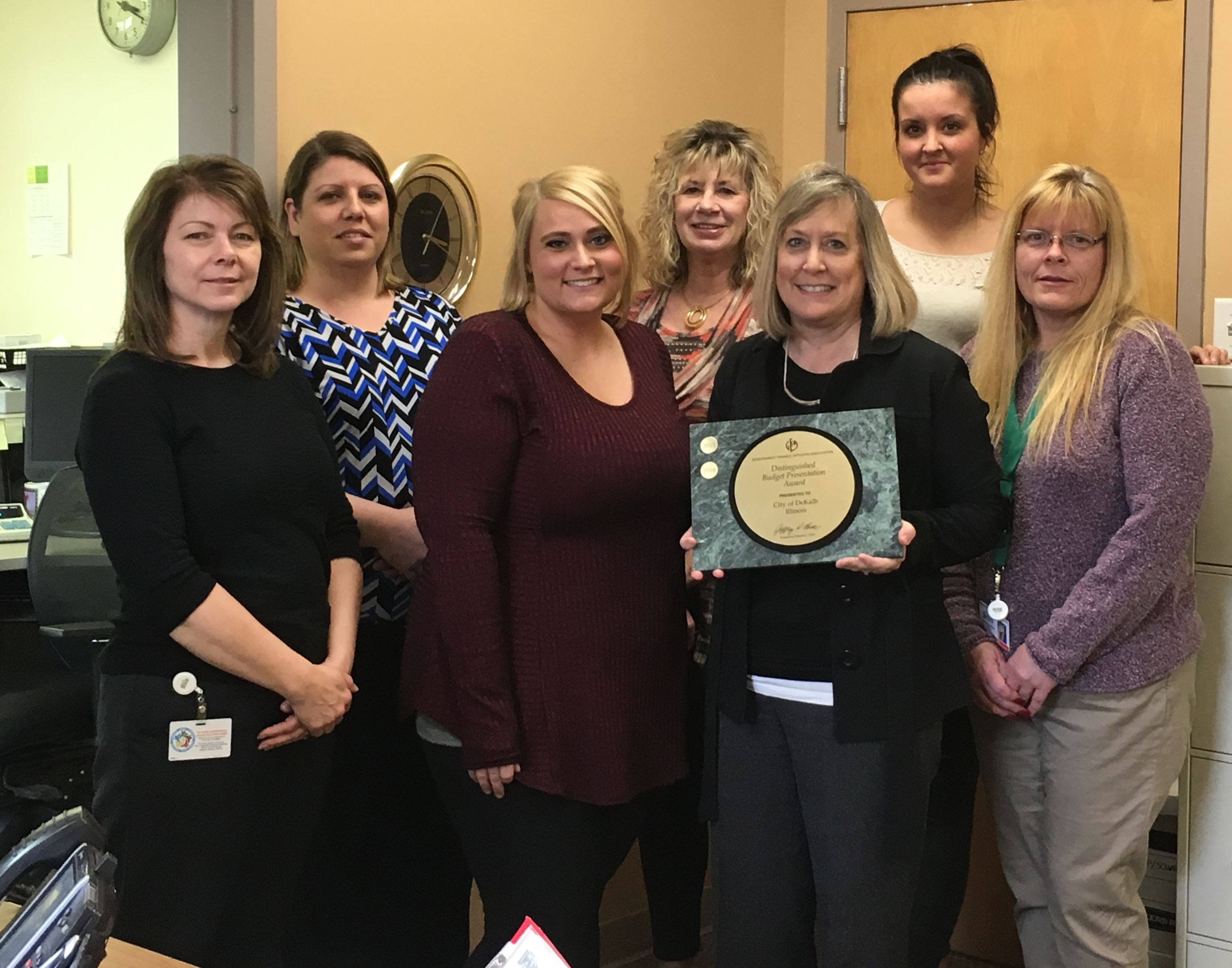 Finance Department Staff Holds Budget Award