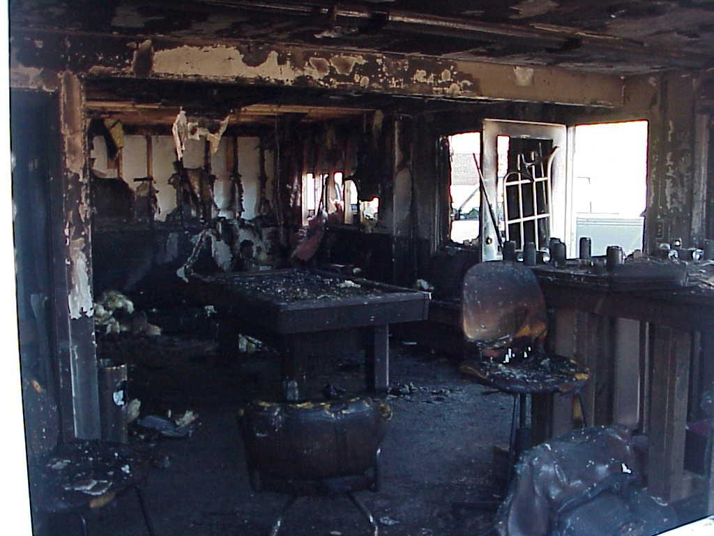 Burnt room of a structure under investigation